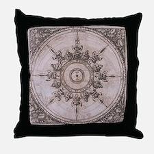 Antique Wind Rose Compass Design Throw Pillow