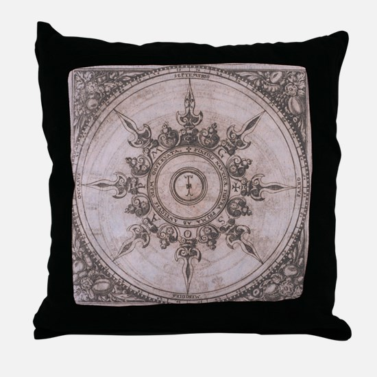 Antique Wind Rose Compass Design Throw Pillow