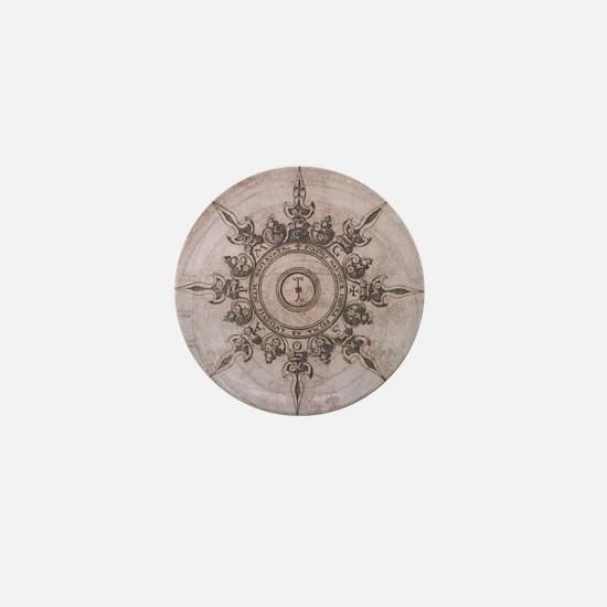 Antique Wind Rose Compass Design Mini Button