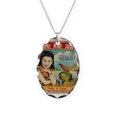 Retro Chinese Girl Label Necklace