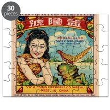 Retro Chinese Girl Label Puzzle