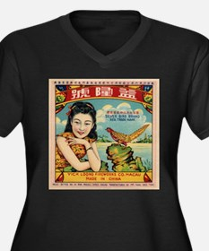 Retro Chinese Girl Label Plus Size T-Shirt