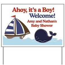 Amy and Nathan Ships Ahoy Baby Shower Sign Yard Si