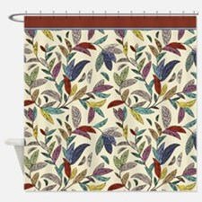 Muted Fall Mosaic Vines on Cream Back Shower Curta
