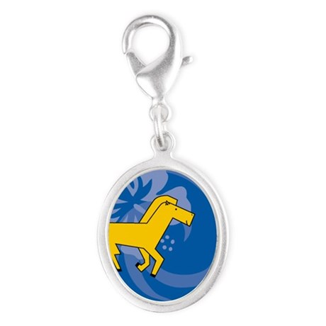 Horse Silver Oval Charm