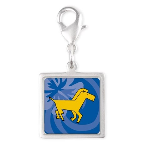 Horse Silver Square Charm