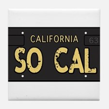Old socal license plate design Tile Coaster
