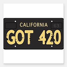 "Old cal license 420 Square Car Magnet 3"" x 3"""
