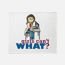 Girl Scientist Throw Blanket