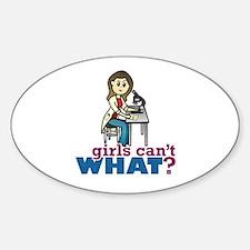 Girl Scientist Sticker (Oval)