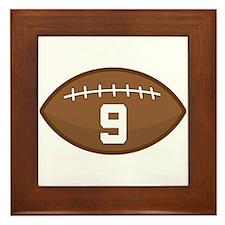 Football Player Number 9 Framed Tile