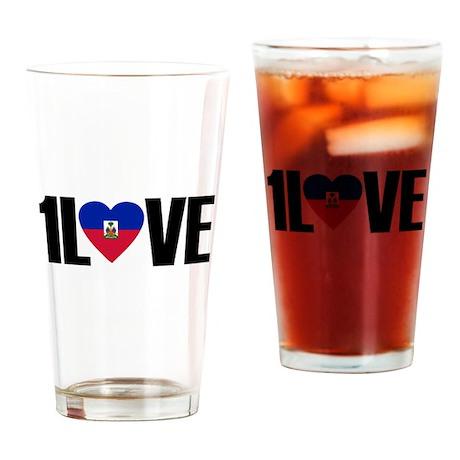 1LOVE HAITI Drinking Glass