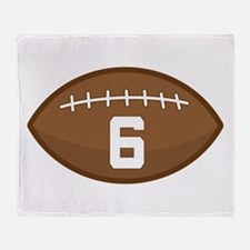 Football Player Number 6 Throw Blanket