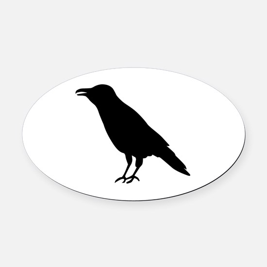 Crow Raven Oval Car Magnet