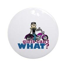 Motorcycle Woman Ornament (Round)