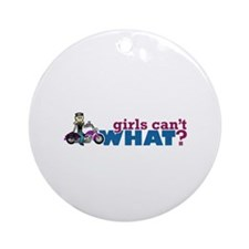 Motorcycle Girl Ornament (Round)