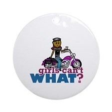 Biker Woman Ornament (Round)