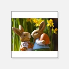 "Easter Bunnies Square Sticker 3"" x 3"""