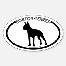 """Boston Terrier"" White Oval Decal"
