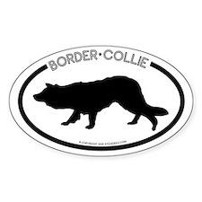 """""""Border Collie"""" White Oval Bumper Stickers"""