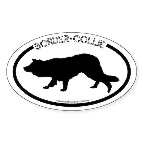"""Border Collie"" White Oval Sticker"