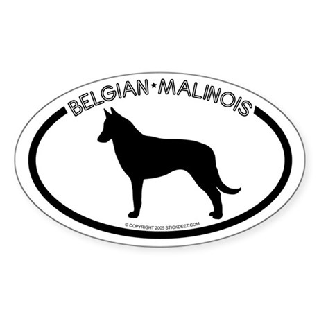 """Belgian Malinois"" White Oval Sticker"