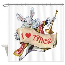 ALICE'S WHITE RABBIT Shower Curtain