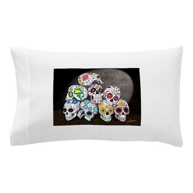 Sugar Skull Family Dia De Los Muertos Pillow Cas By