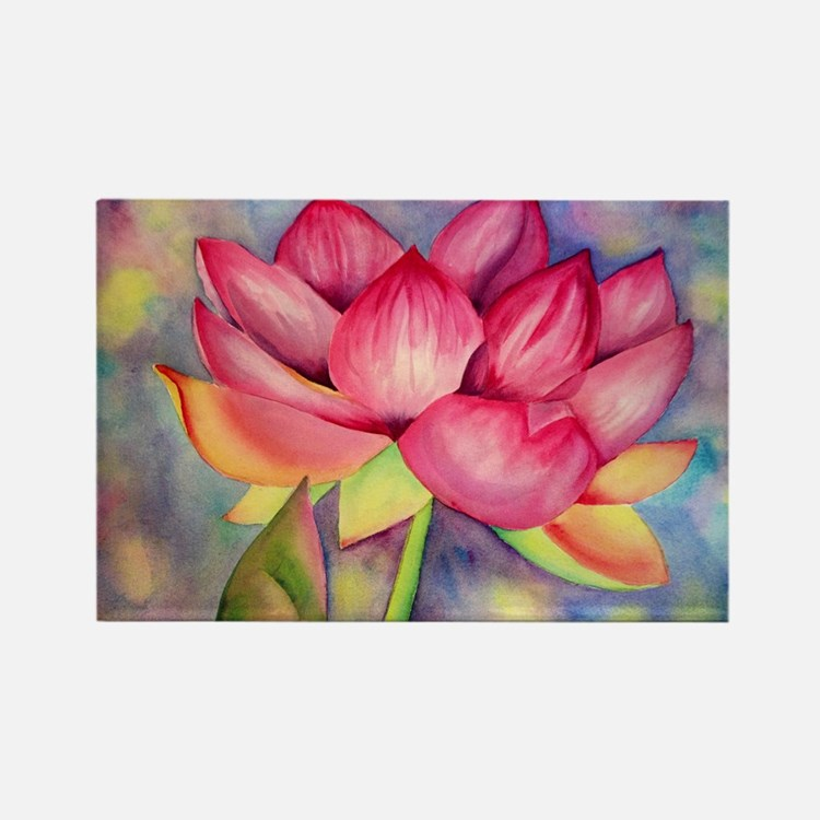 Lotus Flower Rectangle Magnet