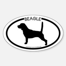 """Beagle"" White Oval Decal"
