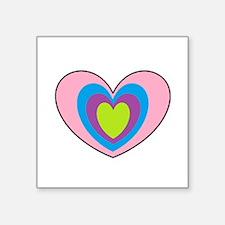 """Unique Heart shaped Square Sticker 3"""" x 3"""""""