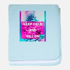 Keep Calm and Fill On (Purple and Teal) baby blank