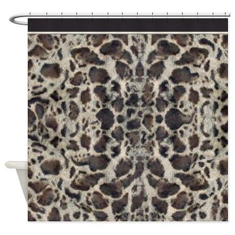 snow leopard animal print shower curtain by digitalrealityart