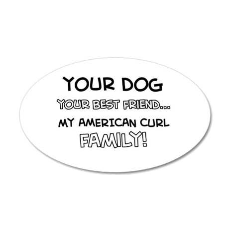 American Curl Cat designs 20x12 Oval Wall Decal