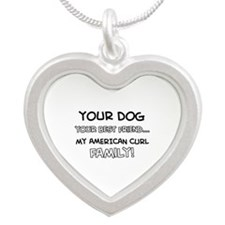 American Curl Cat designs Silver Heart Necklace