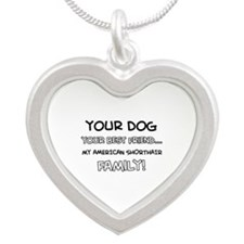 American Shorthair Cat designs Silver Heart Neckla