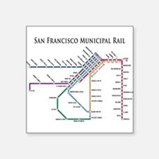 SF MUNI Map (with text) Rectangle Sticker