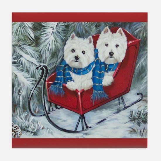 Westies paddy and shanny rescues Tile Coaster