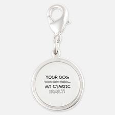 Cymric Cat designs Silver Round Charm