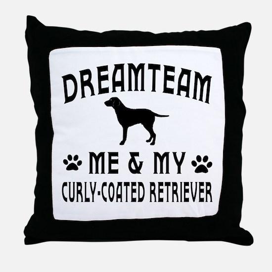Curly-Coated Retriever Dog Designs Throw Pillow