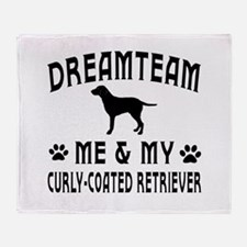 Curly-Coated Retriever Dog Designs Throw Blanket