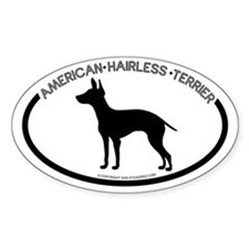 """""""American Hairless Terrier"""" White Oval Decal"""