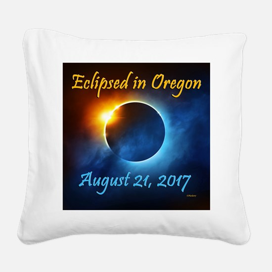 Eclipsed In Oregon Square Canvas Pillow