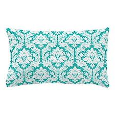 Turquoise Damask pattern Pillow Case
