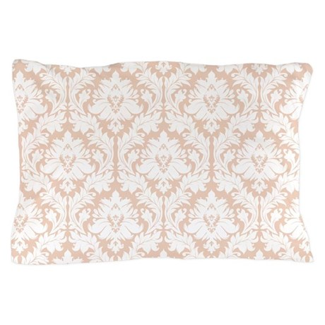 Linen Beige Damask pattern Pillow Case