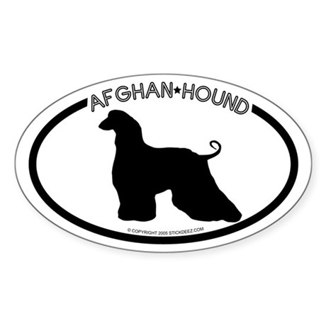 """Afghan Hound"" White Oval Sticker"
