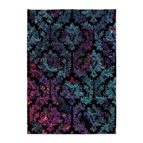 Damask pattern on purple and blue 5'x7'Area Rug