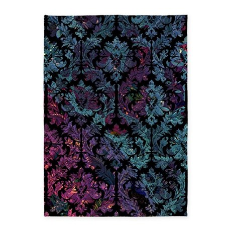 Damask Pattern On Purple And Blue 5 X7 Area Rug By