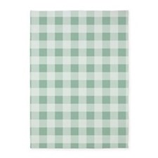 Jade Green Gingham pattern 5'x7'Area Rug