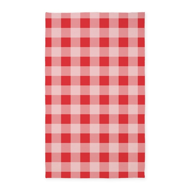 Gingham Rug: Poppy Red Gingham Pattern 3'x5' Area Rug By